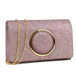 Women Handbags Frosted Evening Clutch Bags Crossbody Purse Gold Ring Deco Wallet $17.99
