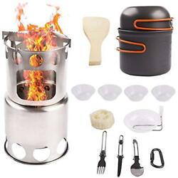 Camping Open Fire Cookware Wood Stove Backpacking Set Ultralight Portable Steel