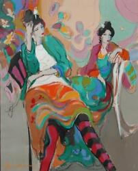 Beautiful Original Oil On Canvas Titled Francesca And Friend By Isaac Maimon