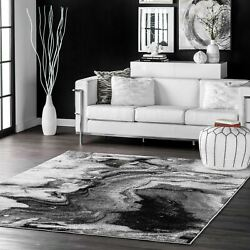 Nuloom Contemporary Modern Abstract Marble Area Rug In Grey, Off White