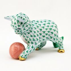 Herend KITTEN with Yarn Ball Green Fishnet CAT Figurine 15833 4