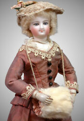 Smiling Bru Poupee with Wooden Arms In Mint Condition and Silk Costume 12.75