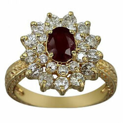 Ruby Oval Ring Vintage Style 2.75 Ctw Ruby And Diamonds 14k Yg Size 7.25