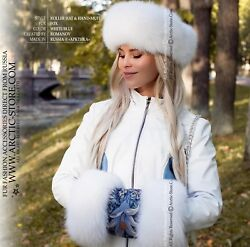 White Shadow Fox Fur Set. Roller Hat And Hand-muff Lined With Sheared Beaver.