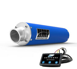 Hmf Performance Slip On Exhaust Pipe Blue + Efi Optimizer Controller Grizzly 700
