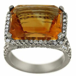 Citrine Rectangle Cut In Diamond Halo Ring 7.02ctw New Art Deco Ring 14kt Size 6