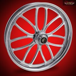 2008-2019 Harley Chrome 23 Inch Front Wheel Floating Rotors Viper