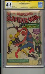 Amazing Spider-man 16 Cgc 4.5 Ss Signed Stan Lee 1st Daredevil Crossover