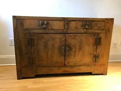 19th Century Chinese Vintage Distressed Orange/brown Lacquer Cabinet