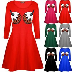 Womens Christmas Pudding Cup Cakes Boobs Funny Novelty Ladies Swing Mini Dress