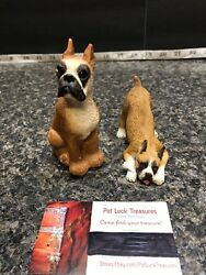 Two Beautiful BOXER FAWN Dog Figurine One Sandicast And One United Design Corp.