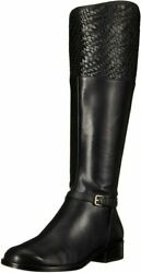 Cole Haan Womenand039s Genevieve Weave Riding Boot 9 Black Leather/black