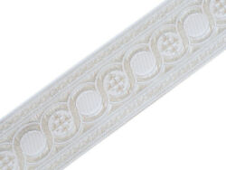 21/4 Wide White On Silver Jacquard Vestment Trim Cross In Celtic Scroll 3 Yards