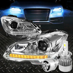 CHROME HALO PROJECTOR HEADLIGHT+WHITE LED H7 HID WFAN FOR 12-14 C-CLASS W204