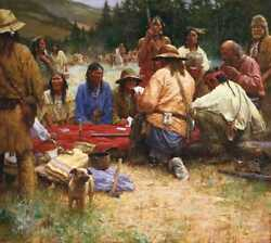 Howard Terpning A Friendly Game At Rendezvous 1832 Signed Numbered Canvas Art