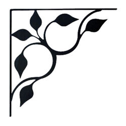 Black Leaf Wrought Iron Shelf Brackets For Wall Mounted Shelves - 3 Sizes Avail