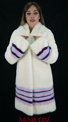Pearl Mink Fur Long Jacket Coat With Colorful Stripes - Size Small/medium