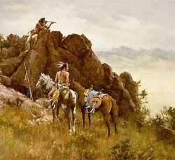 Howard Terpning Far Seeing Glass Signed And Numbered Limited Canvas Native Art