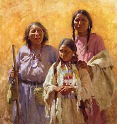 Howard Terpning Three Generations Signed Numbered Canvas Ltd Art Native Indian