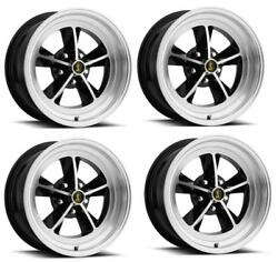 Ford Mustang Wheel Kit 15 X 7 Black / Machined W/ Hubcaps And Lugs Legendary