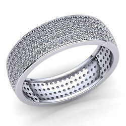 Natural 4.0 Ctw Round Cut Diamond Womenand039s 4-row Eternity Band Ring 14k Gold