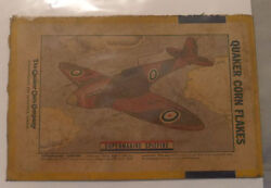 1940's Corn Flakes Cereal Spitfire Plane Advertising Back Box