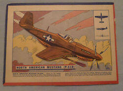 1940's Corn Flakes Cereal North American Mustang Plane Advertising Back Box