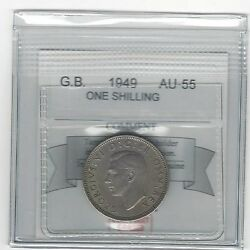 1949great Britain, One Shilling, Coin Mart Graded Au-55
