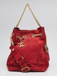 Chanel Red Quilted Suede On My Shoulder Small Drawstring Bag