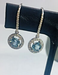 Halo Drop Earrings 14k White Gold With Great Diamonds And Gen. Aquamarines.