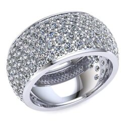 3.75ct Round Diamond Women's 5row Pave Eternity Ring With Sizing Bar 14k Gold