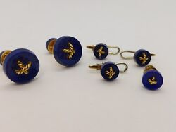 David Webb 18k Yellow Gold Lapis Cuff-links And Studs Complete Set