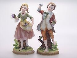 Andrea By Sadek Boy And Girl Holding Grapes Porcelain Figurines 7161