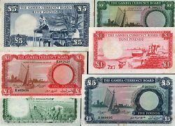 Gambia 10 1 5 Pounds P1 2 3 1965 Set Boat Unc Rare Complete Money Bill Bank Note