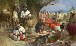 Z.s Liang  Trading With The Blackfeet, Montana Territory, 1860 Le Canvas