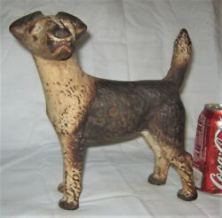 RARE ANTIQUE HUBLEY USA CAST IRON LEFT FOX TERRIER ART STATUE SCULPTURE DOORSTOP