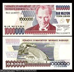 Turkey 1000000 1000000 Lira P209 1995 Bundle Ataturk Dam Unc Million 100 Note