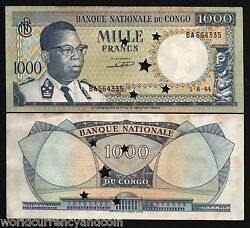 Congo Dr Zaire 1000 1000 Franc P-8 1964 X 100 Pcs Lot Bundle Unc Less Punchhole
