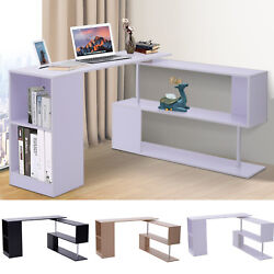 360° Rotating Corner Desk and Storage Shelf Combo L Shaped Table Home Office