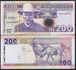 Namibia 200 Dollars P10 A 1996 Antelope 1st Sign Unc Animal Currency Money Note
