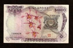 Singapore 1000 1000 Dollars P8 1975 Victoria Theater Orchid Money Bill Banknote