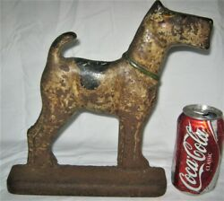 HUGE ANTIQUE HUBLEY USA CAST IRON FOX TERRIER DOG HOME STATUE DOOR ART DOORSTOP