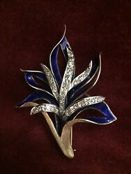 Vintage Diamond And Enamel Blue Floral Pin/brooch 14k Gold 2.25 In Tall 1.75 In