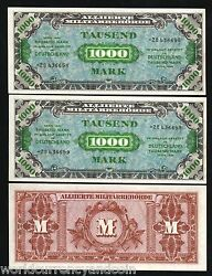 Germany 1000 Marks P198 1944 Pair Unc Replacement Euro Military Payment War Ii