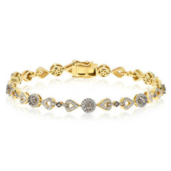 14k Yellow Gold Pave 1.65c Champagne Brown Diamond Cluster Link Tennis Bracelet
