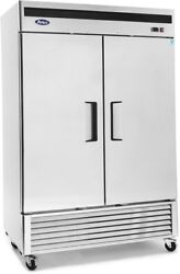 Atosa Mbf8507gr 2 Solid Door Refrigerator Stainless Steel W/casters Bottom Mount