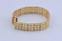 Beautiful Solid 14k Yellow Gold Star Cut Etched Bracelet