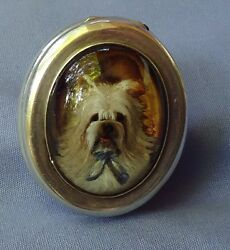 ANTIQUE SKYE SILKY TERRIER SILVER SNUFF BOX ESSEX CRYSTAL DOG
