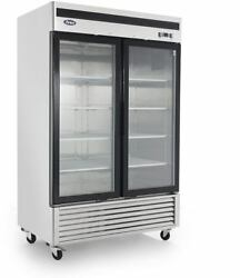 Atosa Mcf8707gr 2 Glass Door Refrigerator Stainless Steel W/casters Bottom Mount