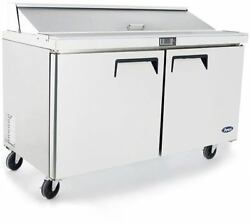 Atosa Msf8303gr 60 2 Door Salad/sandwich Prep Table Refrigerate W/ Caster And Pan